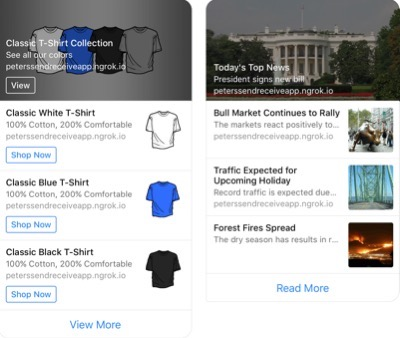 Facebook Messenger Chatbot List Template Example with a Vertical Drop Down of T-shirt Options and Options to Buy Next to Each and Side-by-Side Example of White House Site with Image Thumbnails in Vertical Drop Down Choices