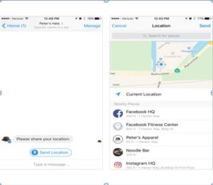"Facebook Messenger Chatbot Quick Replies-Brown Bowler Hat Icon for Peter's Hats with a ""Send Location"" and pop-up of Map with nearby locations."