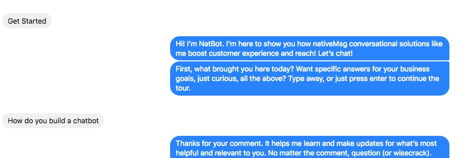 chatbot experience Facebook Messenger conversation